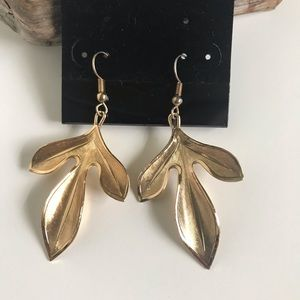 "Jewelry - Dangly ""Gold Leaf"" Earrings with Ear Wire"
